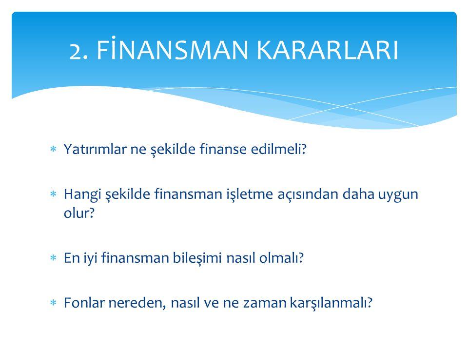 2. FİNANSMAN KARARLARI Yatırımlar ne şekilde finanse edilmeli
