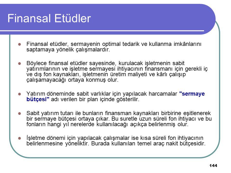 Finansal Etüdler Finansal etüdler, sermayenin optimal tedarik ve kullanma imkânlarını saptamaya yönelik çalışmalardır.