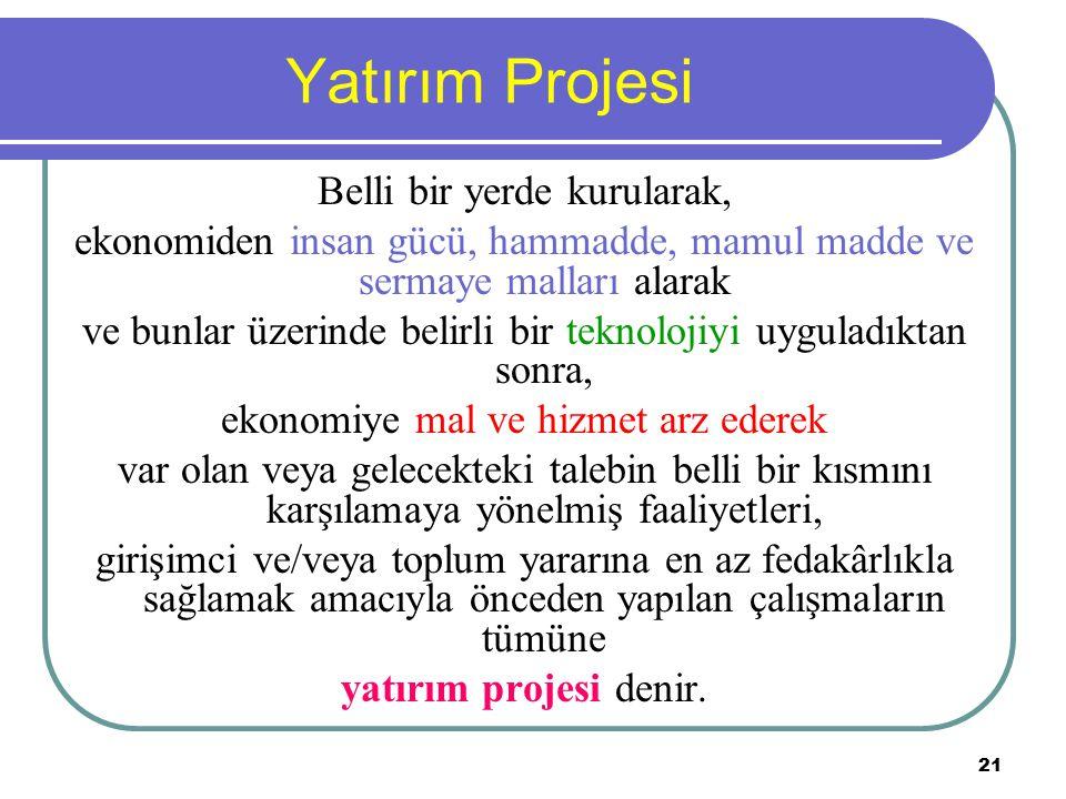 Yatırım Projesi Belli bir yerde kurularak,