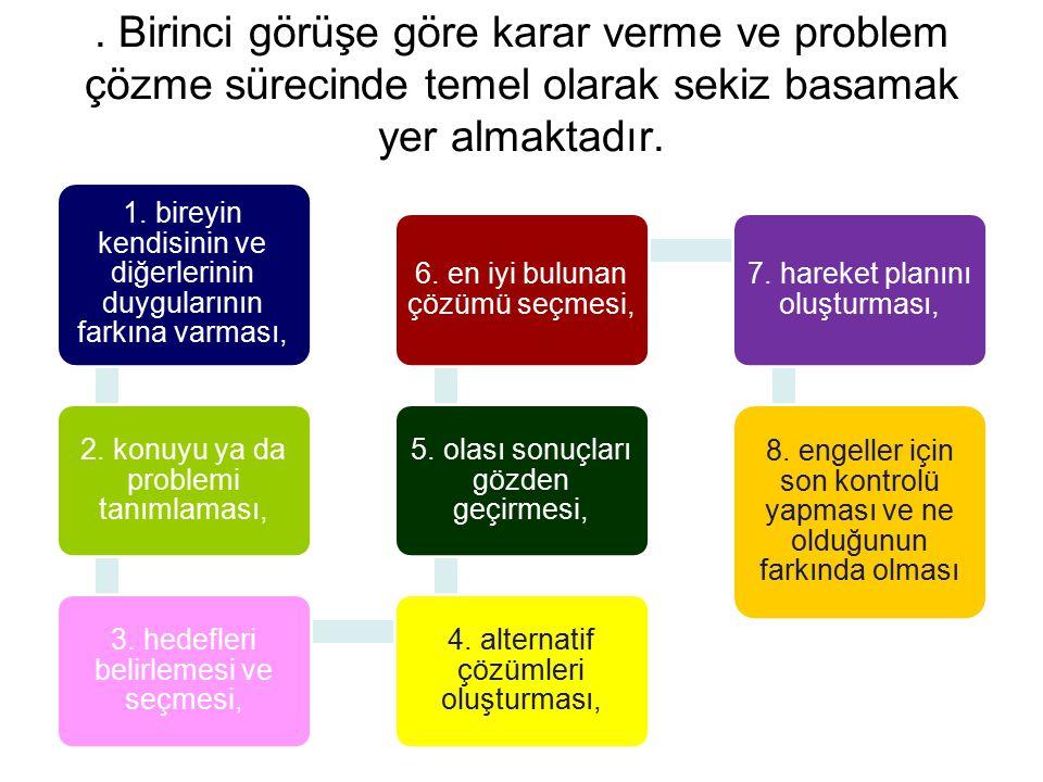 . Birinci görüşe göre karar verme ve problem çözme sürecinde temel olarak sekiz basamak yer almaktadır.