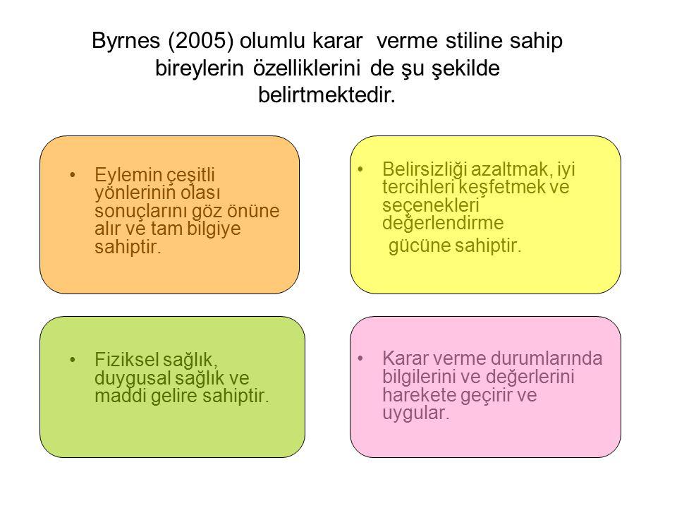 Byrnes (2005) olumlu karar verme stiline sahip