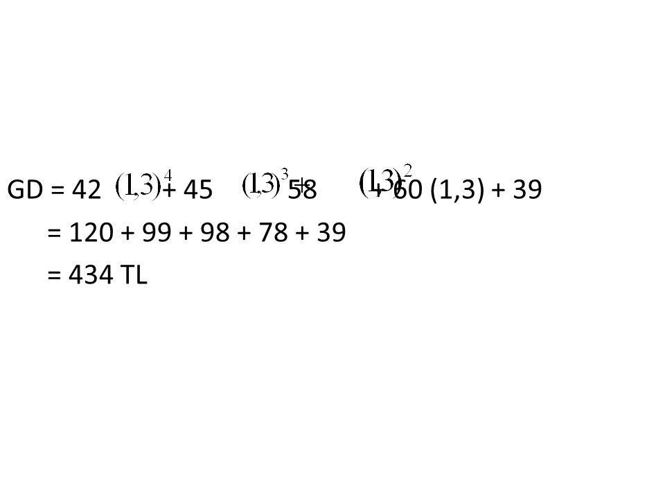 GD = 42 + 45 58 + 60 (1,3) + 39 = 120 + 99 + 98 + 78 + 39 = 434 TL