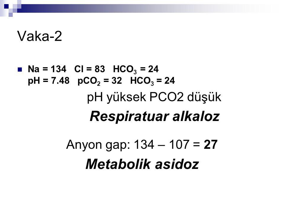 Vaka-2 Metabolik asidoz pH yüksek PCO2 düşük Respiratuar alkaloz