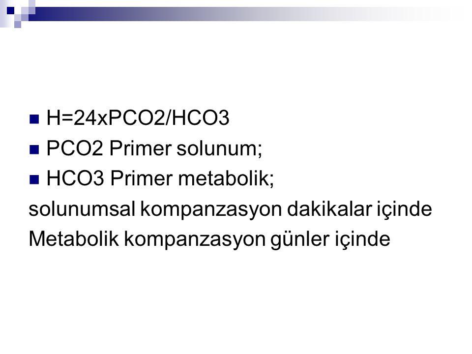H=24xPCO2/HCO3 PCO2 Primer solunum; HCO3 Primer metabolik; solunumsal kompanzasyon dakikalar içinde.