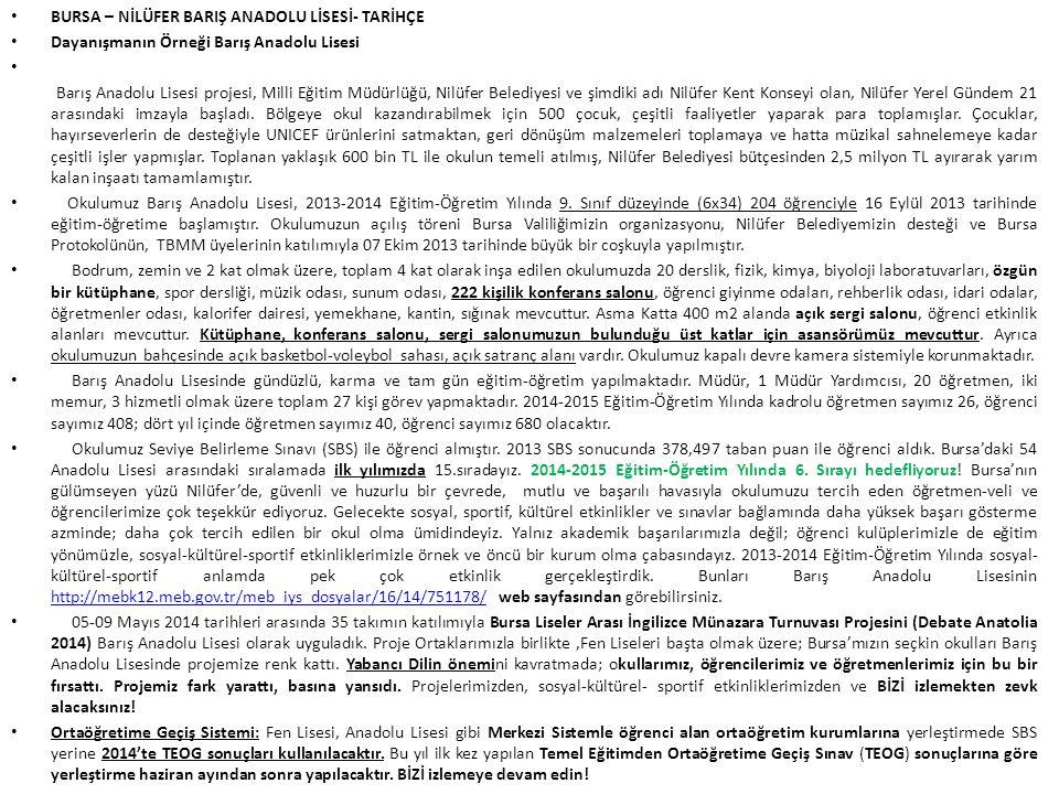 BURSA – NİLÜFER BARIŞ ANADOLU LİSESİ- TARİHÇE