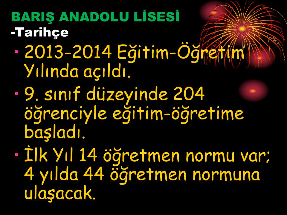 BARIŞ ANADOLU LİSESİ -Tarihçe