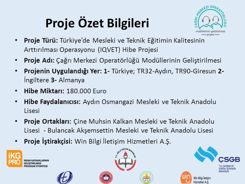Proje Özet Bilgileri Proje Türü: Türkiye'de Mesleki ve Teknik Eğitimin Kalitesinin Arttırılması Operasyonu (IQVET) Hibe Projesi.
