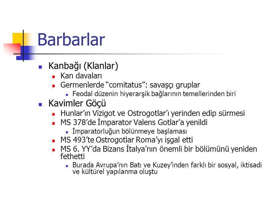 Barbarlar Kanbağı (Klanlar) Kavimler Göçü Kan davaları