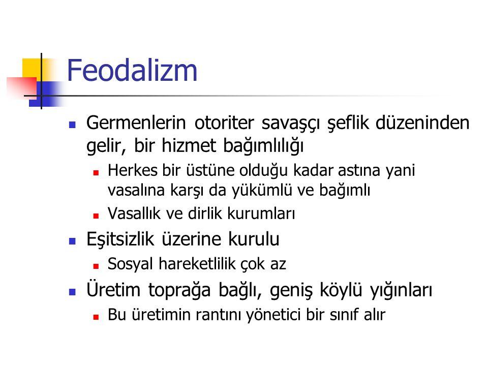 Feodalizm Germenlerin otoriter savaşçı şeflik düzeninden gelir, bir hizmet bağımlılığı.