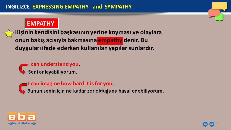 İNGİLİZCE EXPRESSING EMPATHY and SYMPATHY