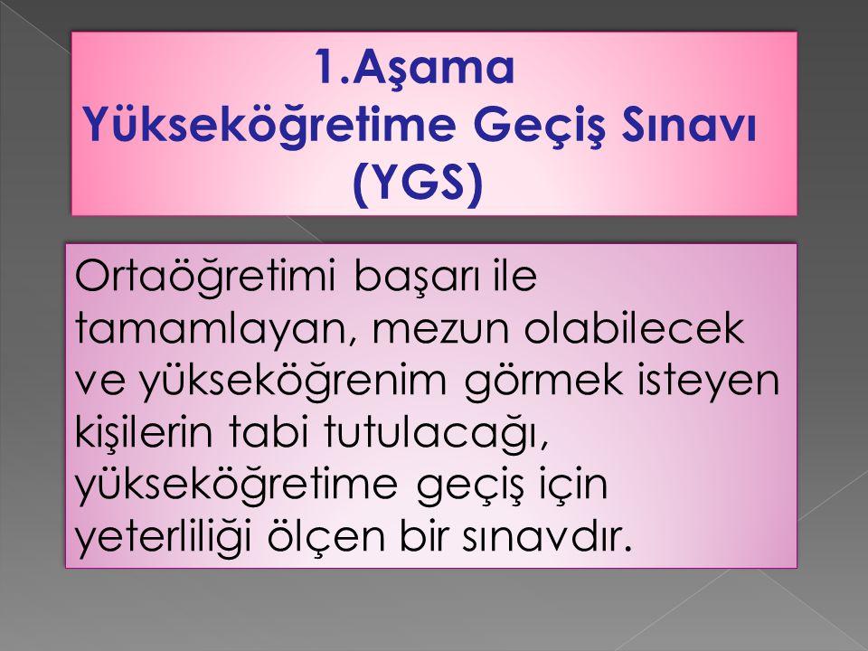 Yükseköğretime Geçiş Sınavı (YGS)