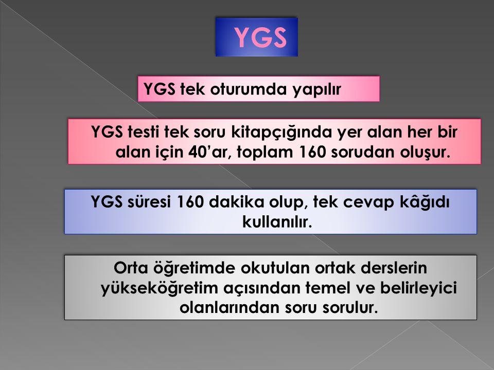 YGS süresi 160 dakika olup, tek cevap kâğıdı kullanılır.