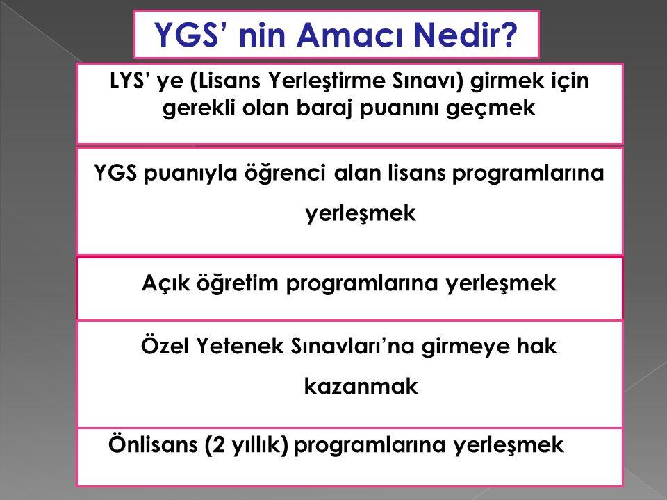 YGS' nin Amacı Nedir LYS' ye (Lisans Yerleştirme Sınavı) girmek için gerekli olan baraj puanını geçmek.