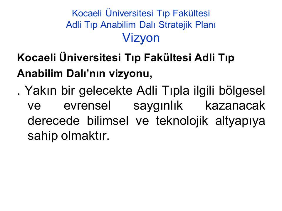 Kocaeli Üniversitesi Tıp Fakültesi Adli Tıp Anabilim Dalı Stratejik Planı Vizyon