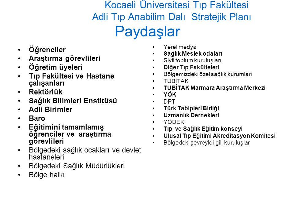 Kocaeli Üniversitesi Tıp Fakültesi Adli Tıp Anabilim Dalı Stratejik Planı Paydaşlar