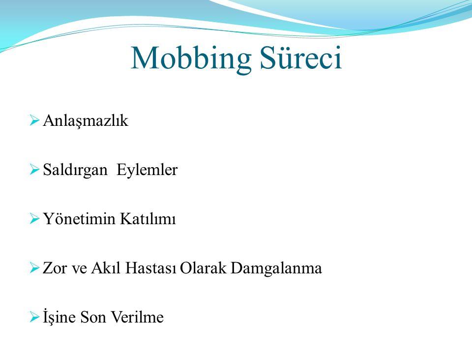 Mobbing Süreci Anlaşmazlık Saldırgan Eylemler Yönetimin Katılımı