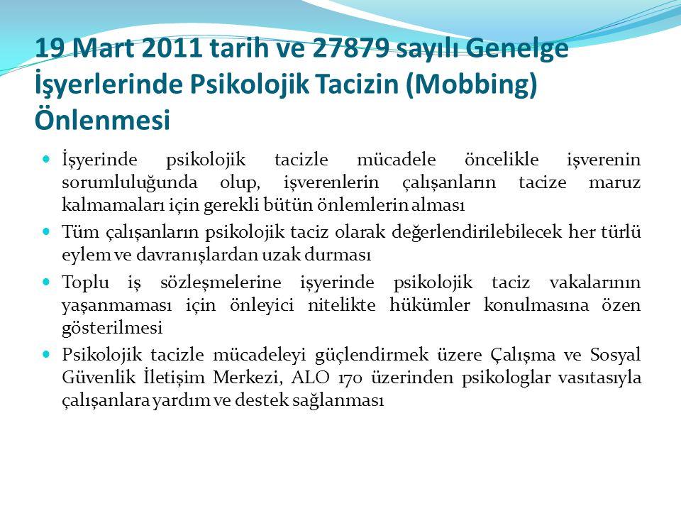 19 Mart 2011 tarih ve 27879 sayılı Genelge İşyerlerinde Psikolojik Tacizin (Mobbing) Önlenmesi