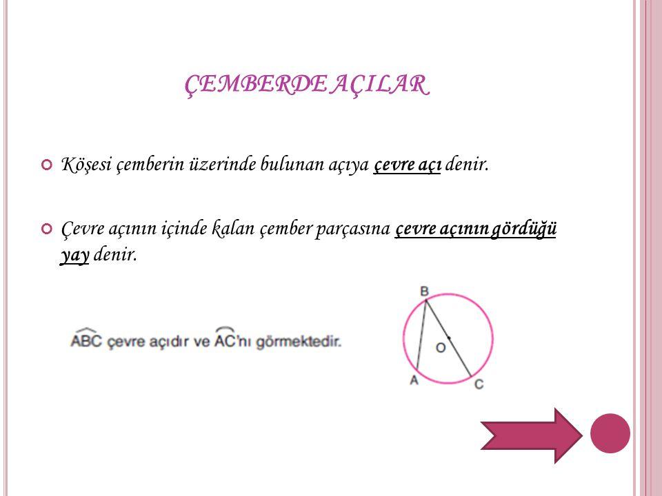 ÇEMBERDE AÇILAR Köşesi çemberin üzerinde bulunan açıya çevre açı denir.