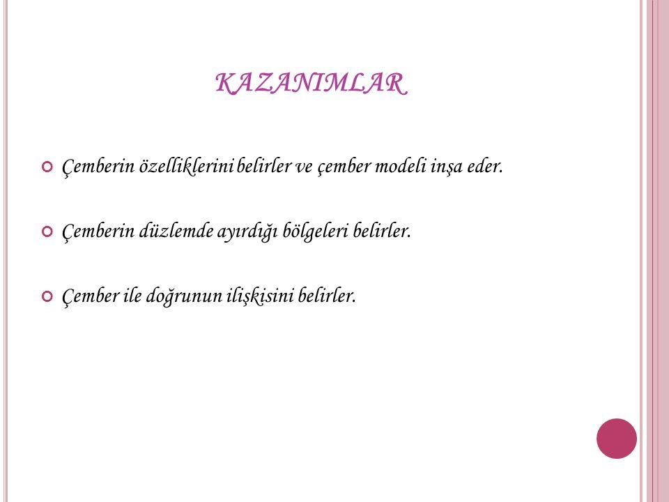 KAZANIMLAR Çemberin özelliklerini belirler ve çember modeli inşa eder.