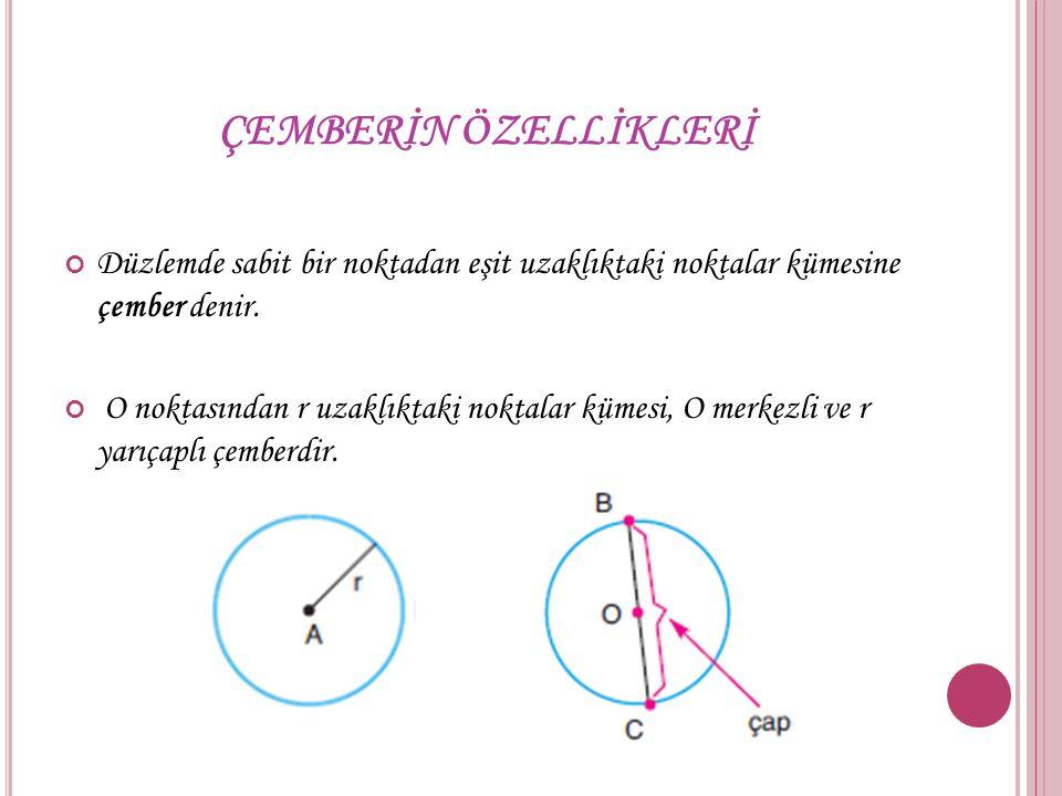 ÇEMBERİN ÖZELLİKLERİ Düzlemde sabit bir noktadan eşit uzaklıktaki noktalar kümesine çember denir.