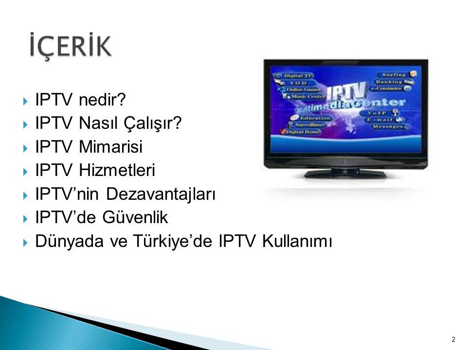 İÇERİK IPTV nedir IPTV Nasıl Çalışır IPTV Mimarisi IPTV Hizmetleri