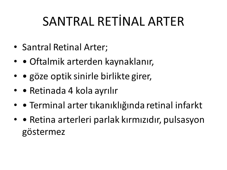 SANTRAL RETİNAL ARTER Santral Retinal Arter;