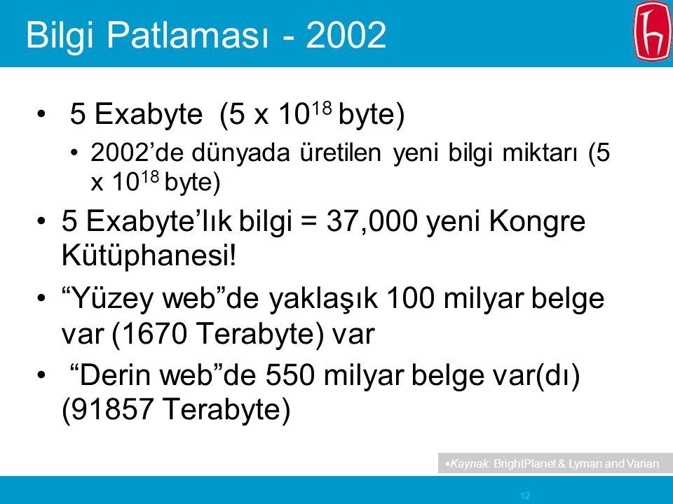 Bilgi Patlaması - 2002 5 Exabyte (5 x 1018 byte)
