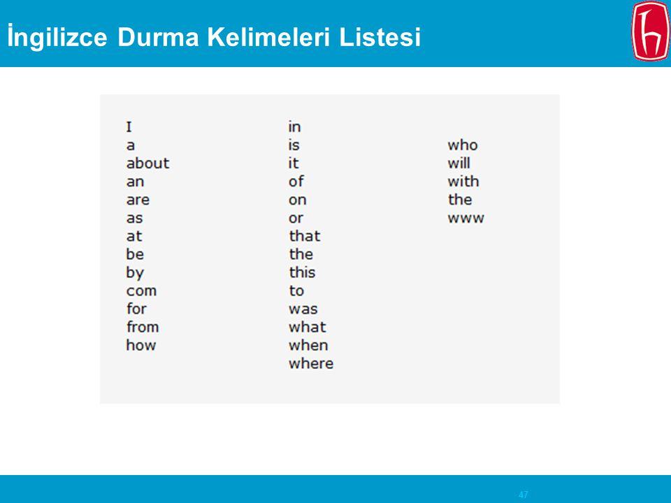İngilizce Durma Kelimeleri Listesi