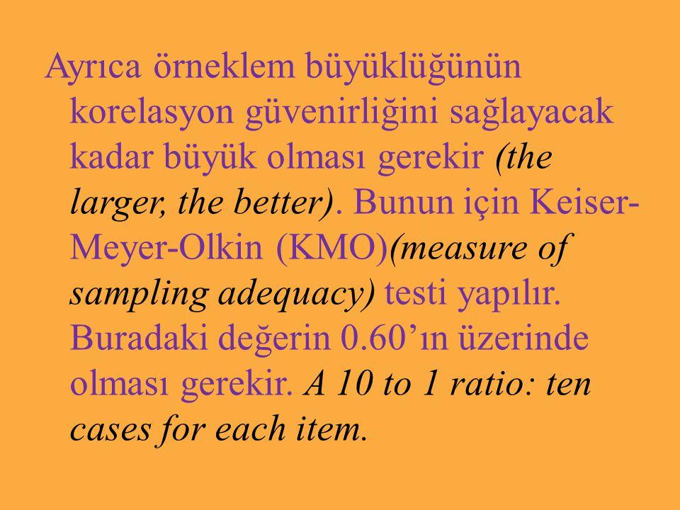 Ayrıca örneklem büyüklüğünün korelasyon güvenirliğini sağlayacak kadar büyük olması gerekir (the larger, the better).