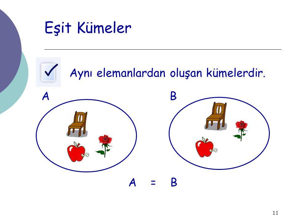 Eşit Kümeler Aynı elemanlardan oluşan kümelerdir. A B A = B