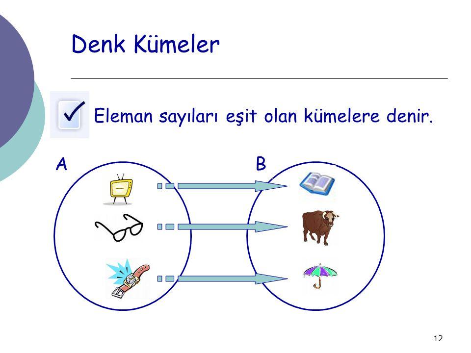 Denk Kümeler Eleman sayıları eşit olan kümelere denir. A B