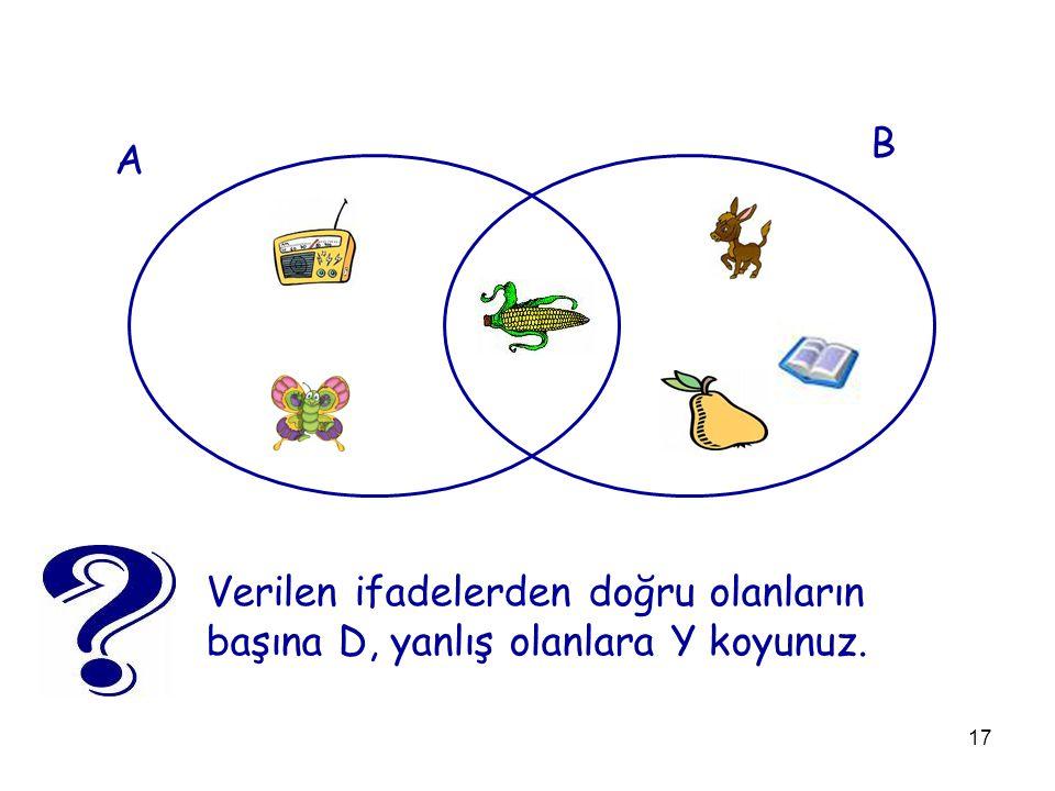B A Verilen ifadelerden doğru olanların başına D, yanlış olanlara Y koyunuz.