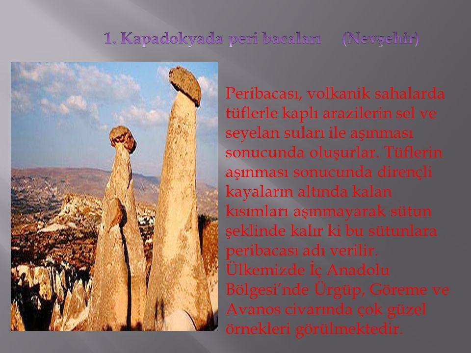 1. Kapadokyada peri bacaları (Nevşehir)