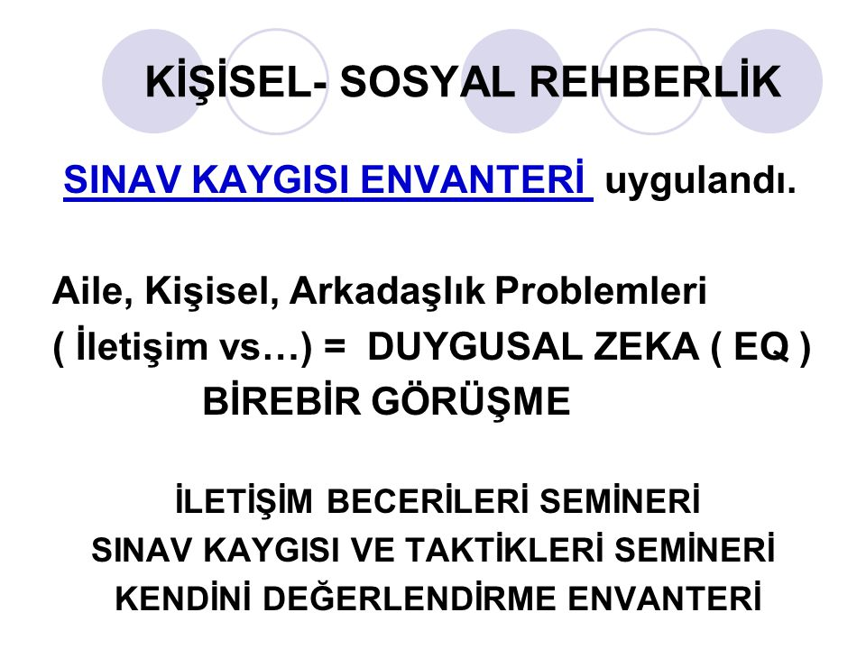 KİŞİSEL- SOSYAL REHBERLİK