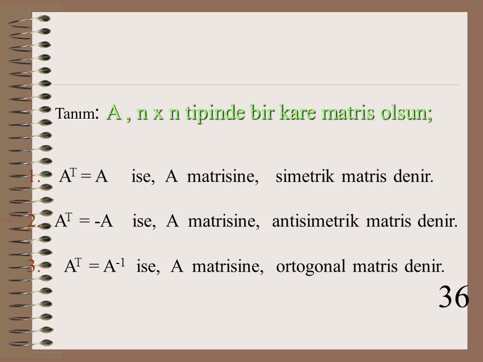 Tanım: A , n x n tipinde bir kare matris olsun;