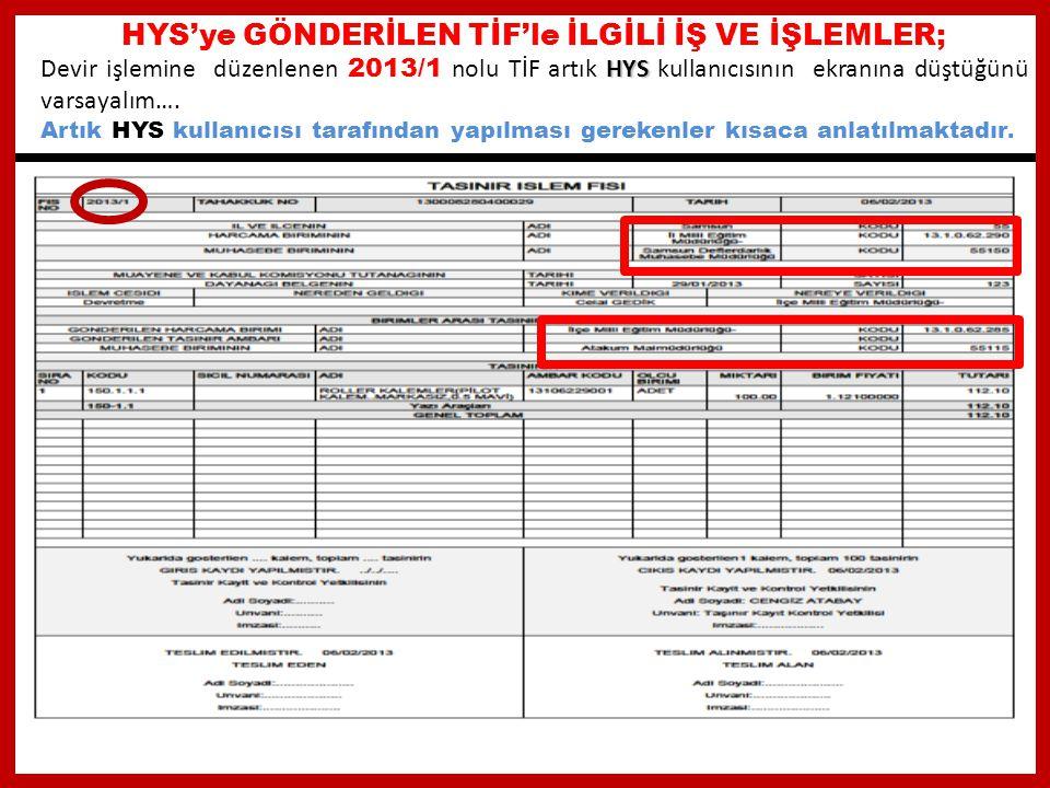 HYS'ye GÖNDERİLEN TİF'le İLGİLİ İŞ VE İŞLEMLER;