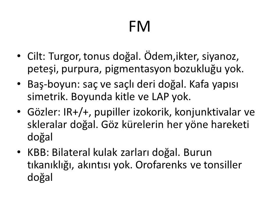 FM Cilt: Turgor, tonus doğal. Ödem,ikter, siyanoz, peteşi, purpura, pigmentasyon bozukluğu yok.