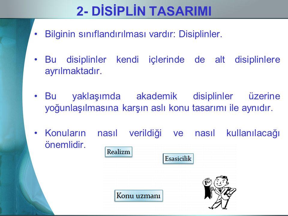 2- DİSİPLİN TASARIMI Bilginin sınıflandırılması vardır: Disiplinler.
