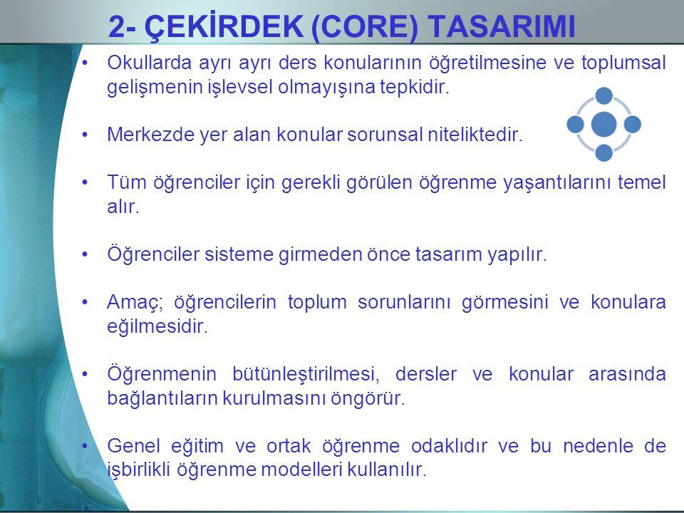 2- ÇEKİRDEK (CORE) TASARIMI