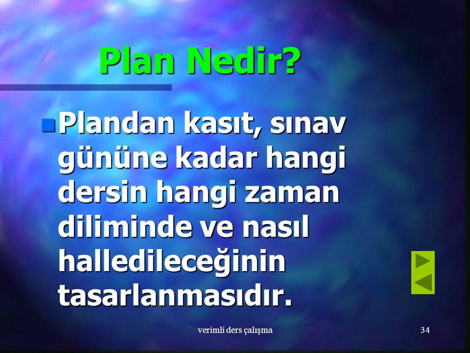 Plan Nedir Plandan kasıt, sınav gününe kadar hangi dersin hangi zaman diliminde ve nasıl halledileceğinin tasarlanmasıdır.