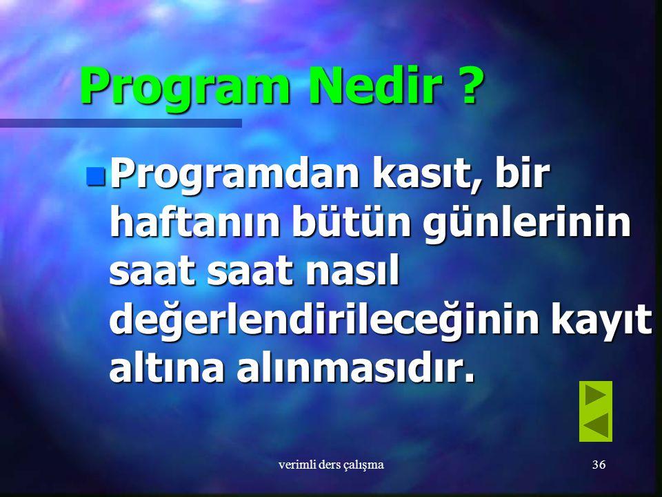 Program Nedir Programdan kasıt, bir haftanın bütün günlerinin saat saat nasıl değerlendirileceğinin kayıt altına alınmasıdır.