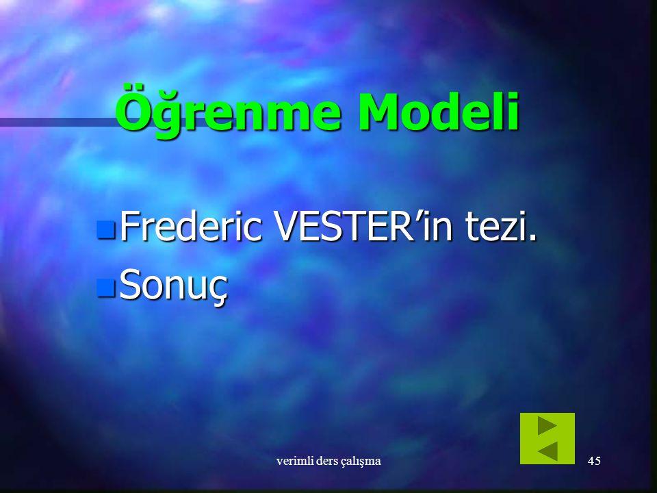 Öğrenme Modeli Frederic VESTER'in tezi. Sonuç verimli ders çalışma