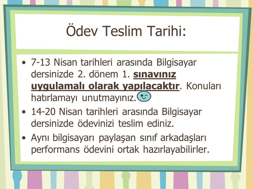 Ödev Teslim Tarihi: