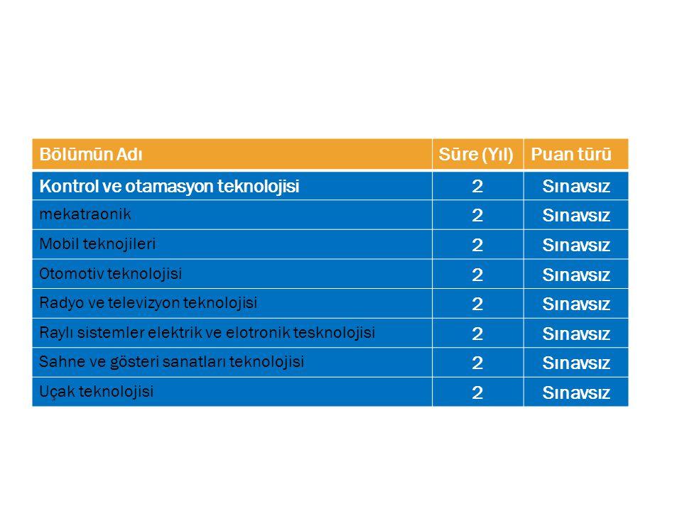 Kontrol ve otamasyon teknolojisi 2 Sınavsız
