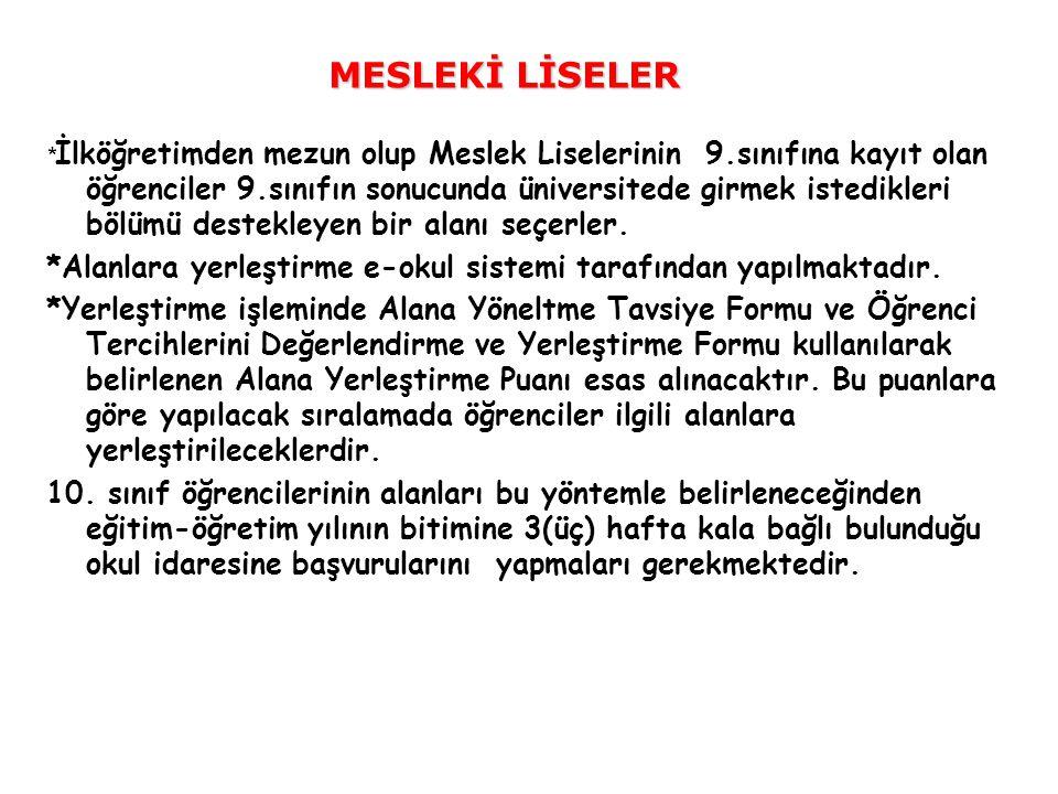 MESLEKİ LİSELER