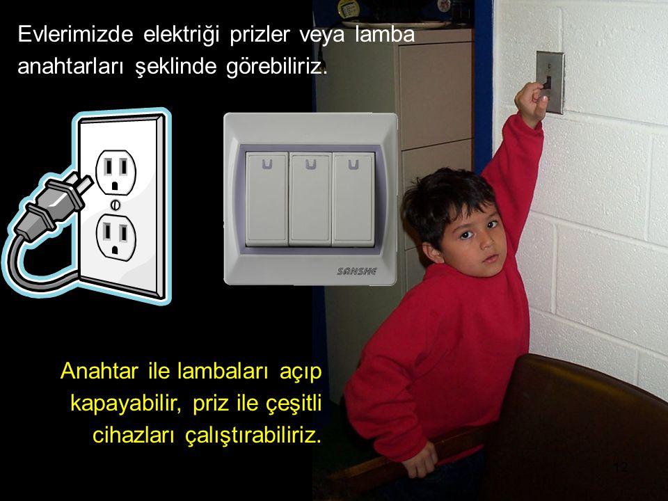 Evlerimizde elektriği prizler veya lamba anahtarları şeklinde görebiliriz.