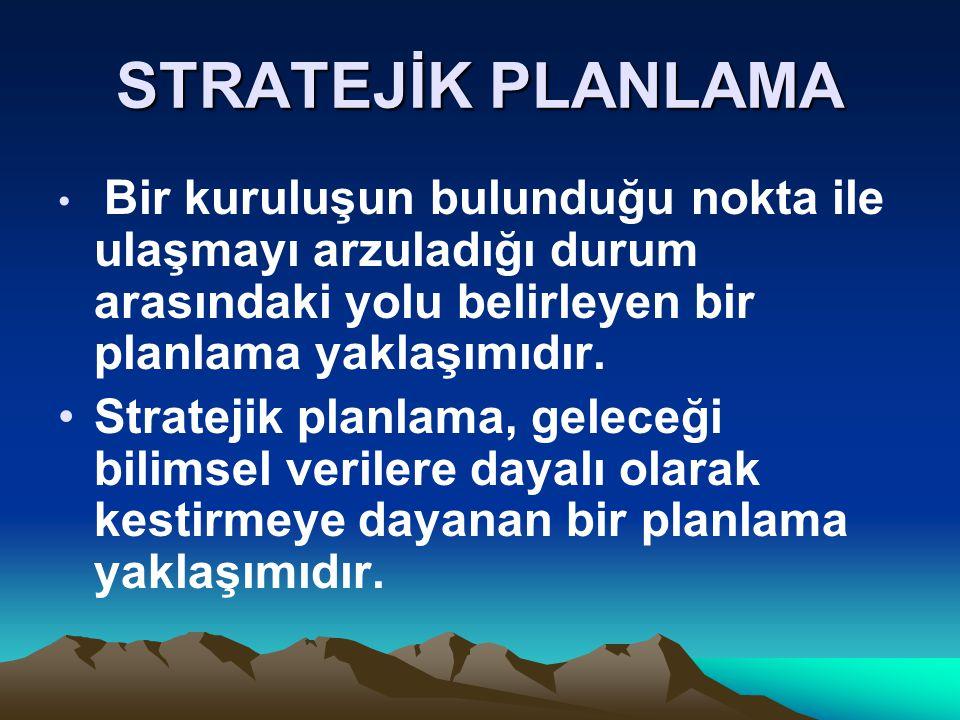STRATEJİK PLANLAMA Bir kuruluşun bulunduğu nokta ile ulaşmayı arzuladığı durum arasındaki yolu belirleyen bir planlama yaklaşımıdır.