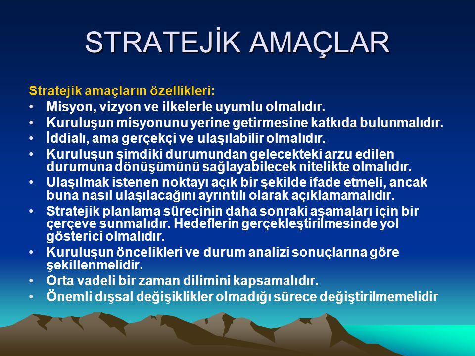 STRATEJİK AMAÇLAR Stratejik amaçların özellikleri: