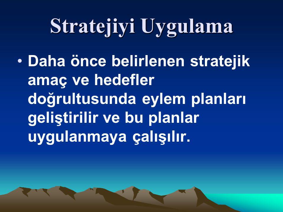 Stratejiyi Uygulama Daha önce belirlenen stratejik amaç ve hedefler doğrultusunda eylem planları geliştirilir ve bu planlar uygulanmaya çalışılır.