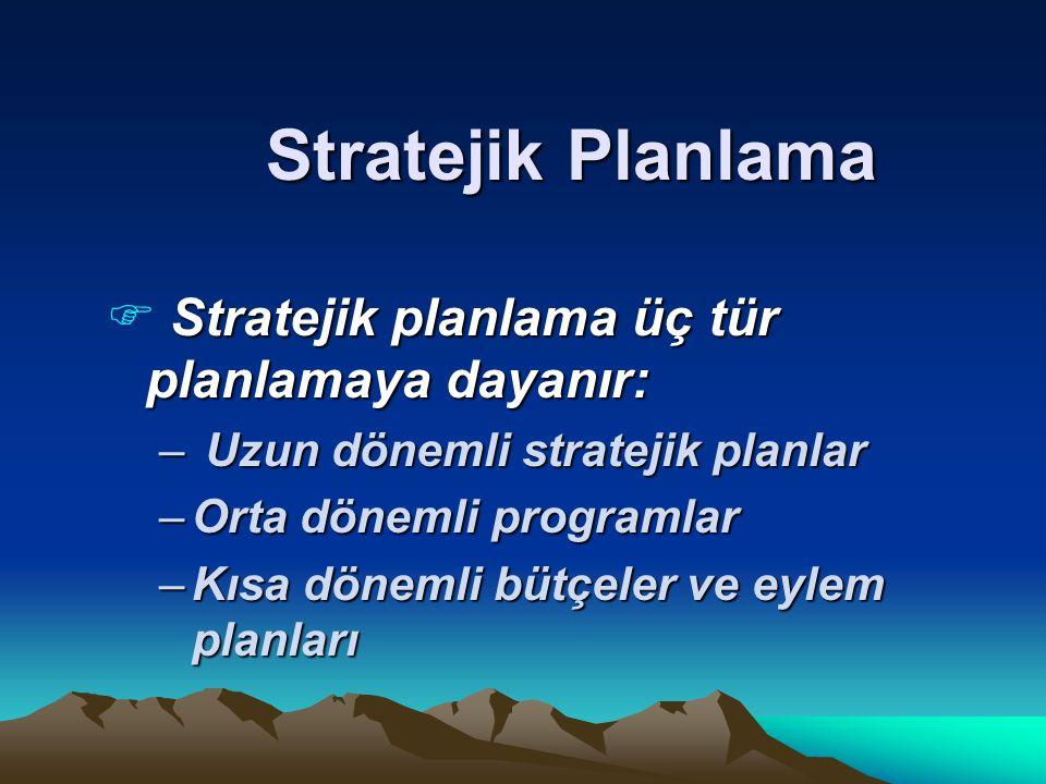 Stratejik Planlama Stratejik planlama üç tür planlamaya dayanır: